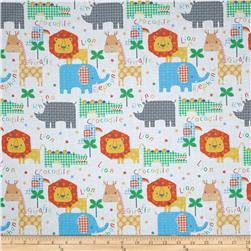 Jungle Animals Allover White
