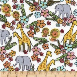 Timeless Treasures Safari Crush Flannel Jungle Animals White