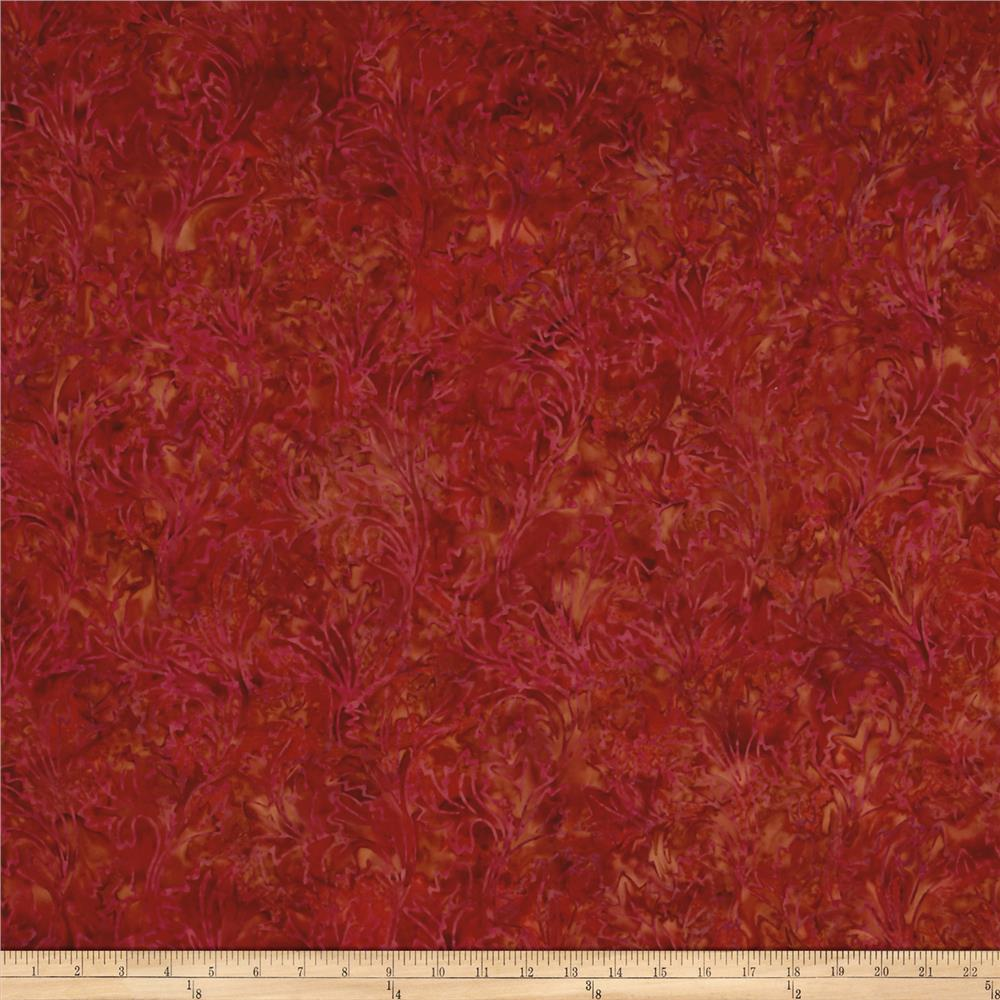 Jinny Beyer Malam Batiks III Leaf Scroll Red