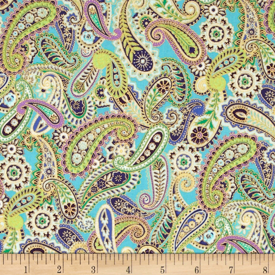 Paisley Peacock Metallic Paisley Aqua/Gold Fabric