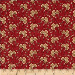 Moda Collection for a Cause Mill Book Clover Leaf Flower Madder Red