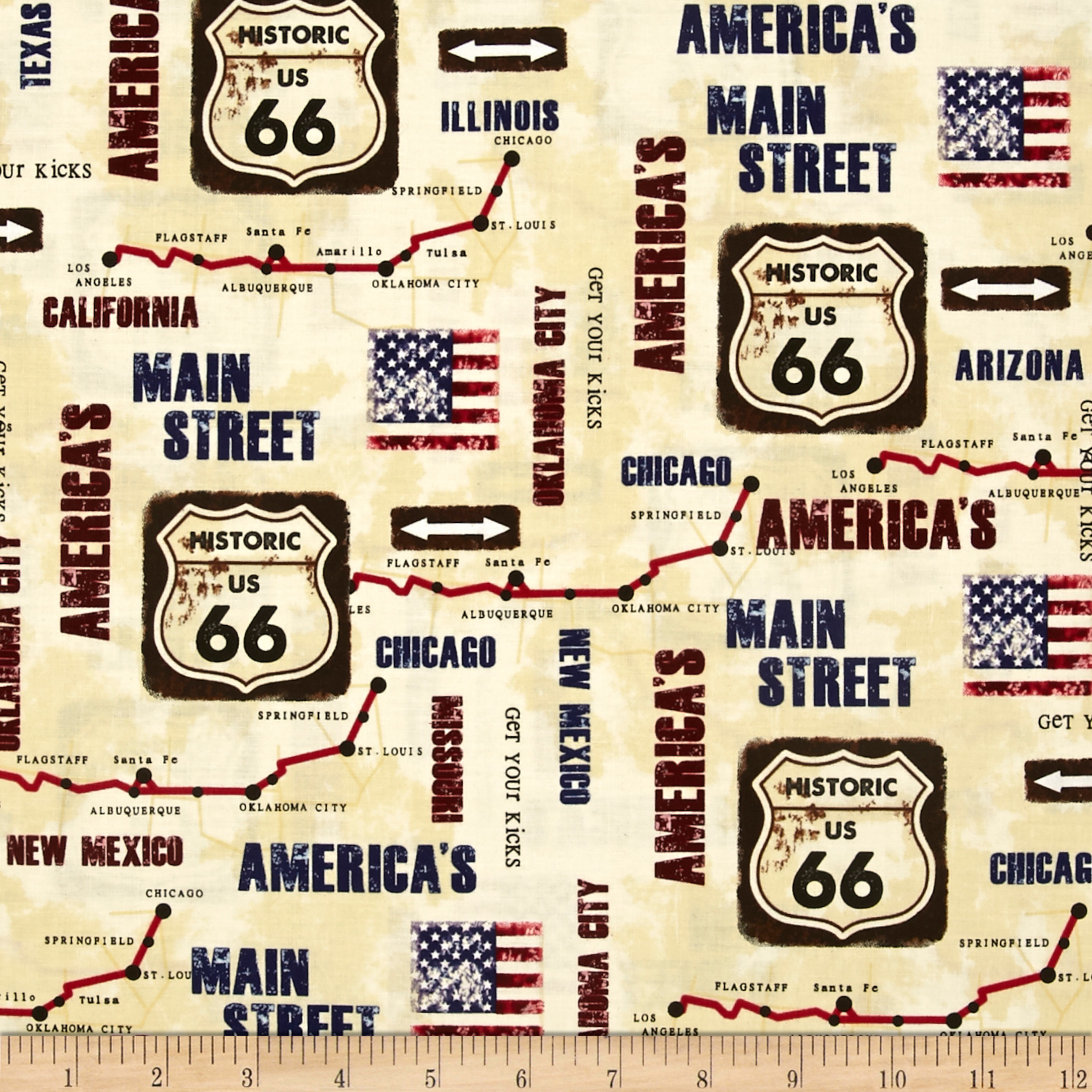 Kanvas On The Road Again Rt 66 Map Cream Fabric