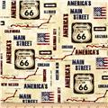 Kanvas On The Road Again Rt 66 Map Cream