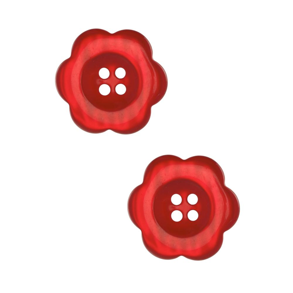 "Riley Blake Sew Together 2"" Flower Button Red"