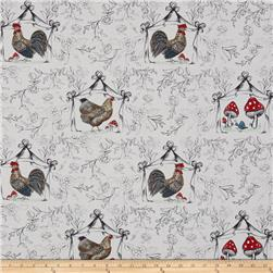 French Hen Good Day Toile White