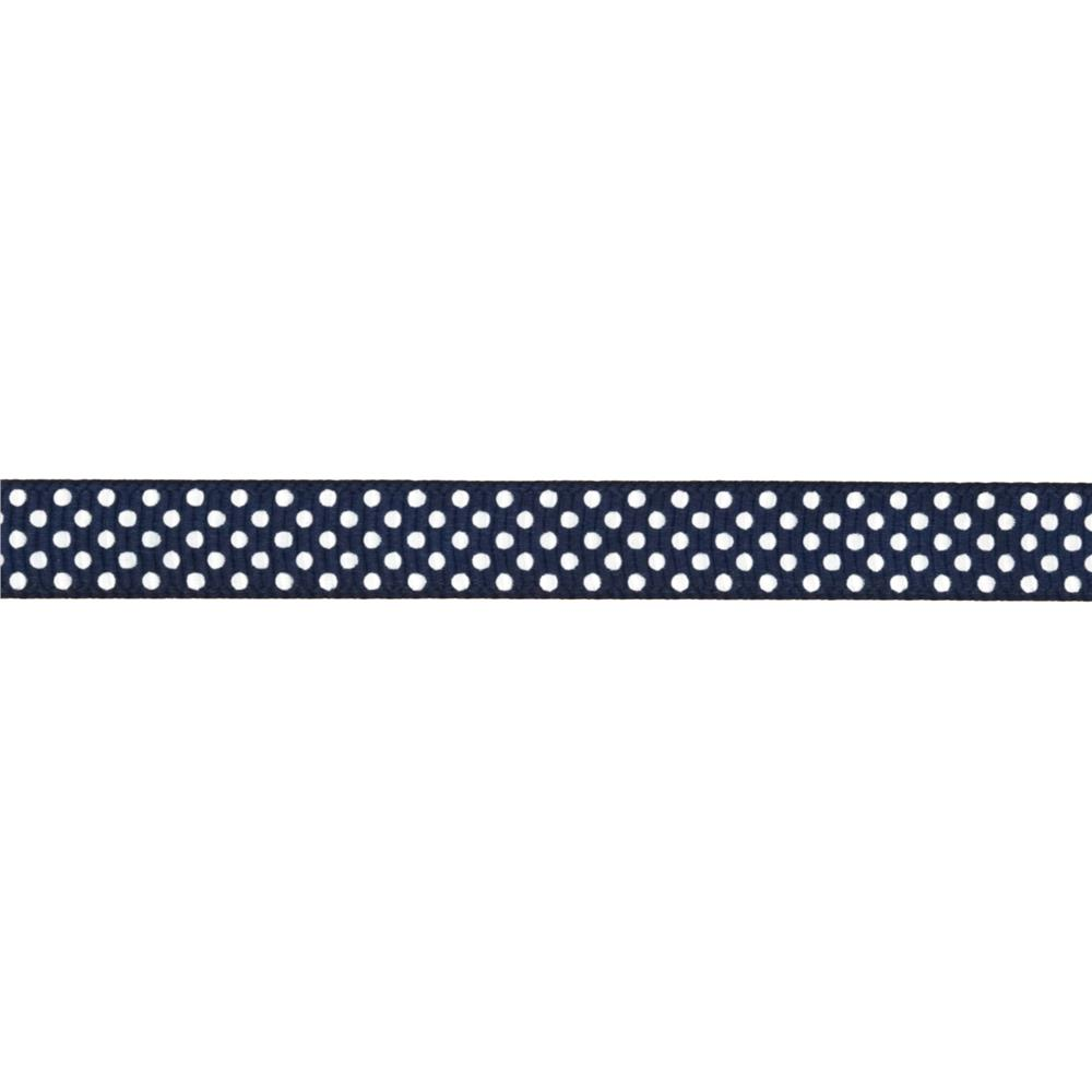 "Riley Blake 3/8"" Grosgrain Ribbon White Dots Navy"