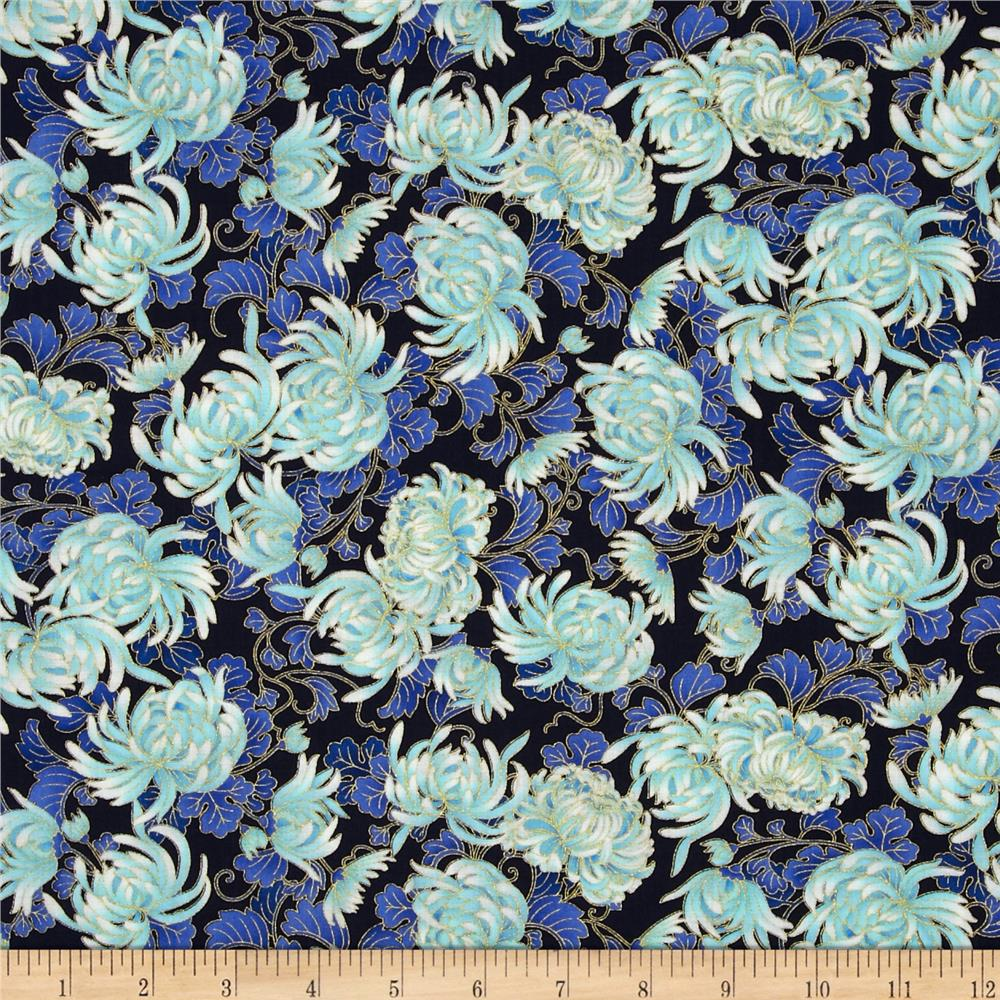 Timeless Treasures Imperial Garden Metallic Mumms Navy