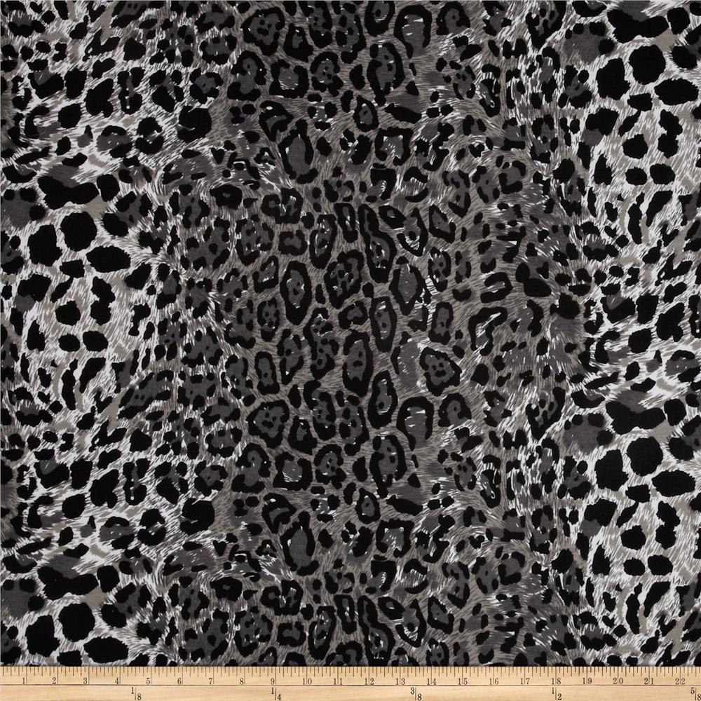 Designer Stretch Jersey Knit Leopard Black/Grey