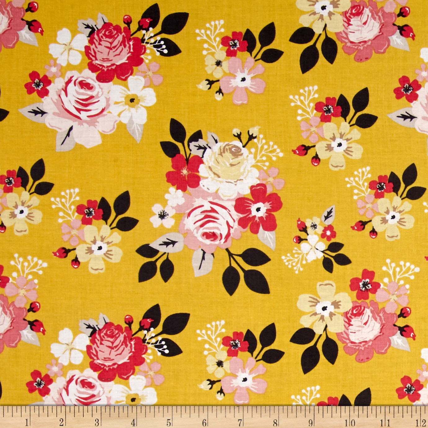 1940s Fabrics and Colors in Fashion Riley Blake Vintage Daydream Main Gold Fabric $9.48 AT vintagedancer.com