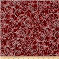 Kaufman Winter's Grandeur 4 Metallics Scrolls Cranberry