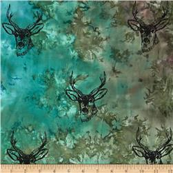 Indian Batik Animal Planet Stag Blue/Green