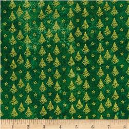 Marblehead Glistening Metallics III Mini Trees Green Fabric