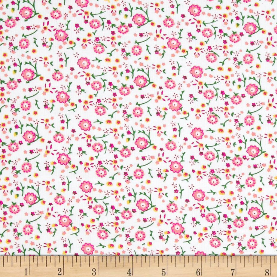 21 wale corduroy flowers white pink for Children s corduroy fabric