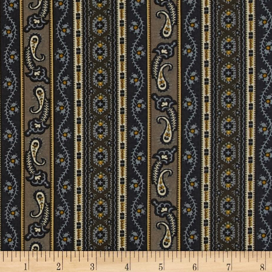 Hint of Print Striped Paisley Blue/Aztec Gold