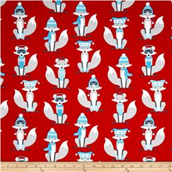 Kaufman Polar Pals Holiday Foxes Red