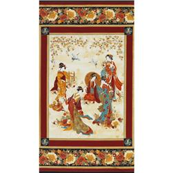 "Timeless Treasures Kyoto Blossoms Metallic 24"" Geisha Panel"