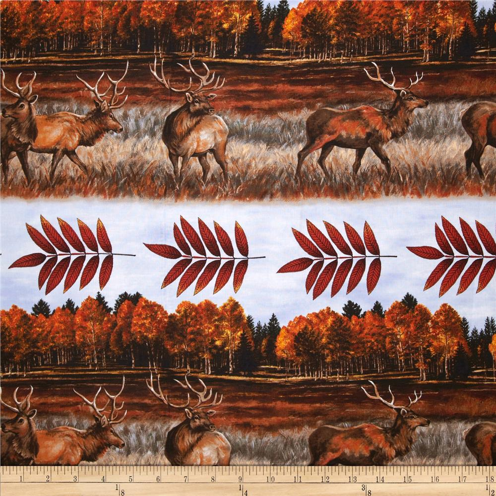 Elk Gathering By the Lake Stripe Red
