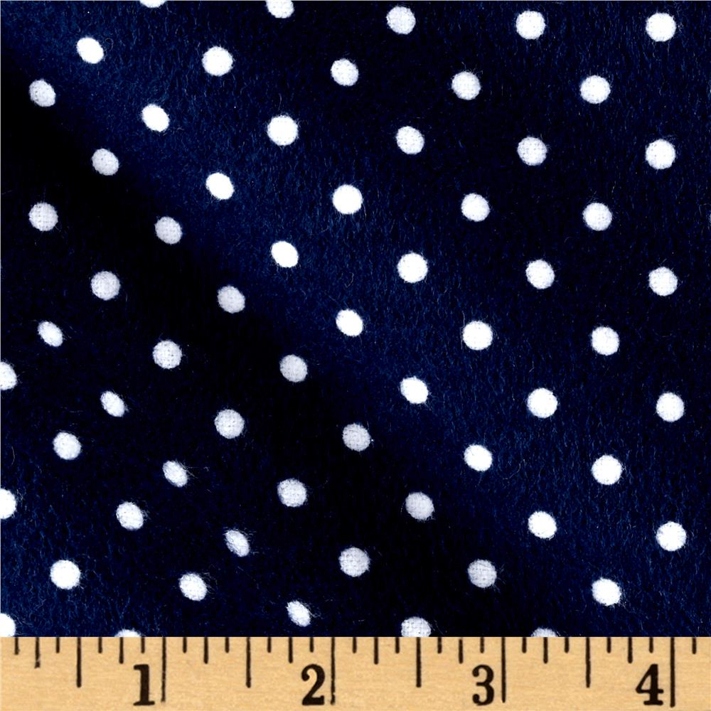 Timeless Treasures Flannel Dot Navy Fabric