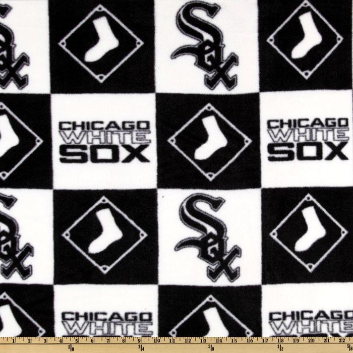 MLB Fleece Chicago White Sox Blocks Black/White Fabric