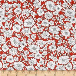 Kaufman London Calling Lawn Floral Spray Poppy Fabric