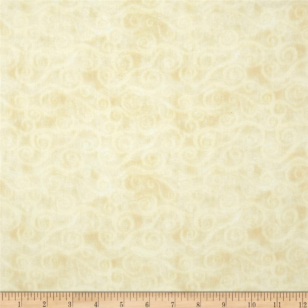 108'' Wide Quilt Back Flannel Swirly Scroll Ivory Fabric By The Yard