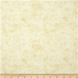 108'' Wide Quilt Back Flannel Swirly Scroll Ivory