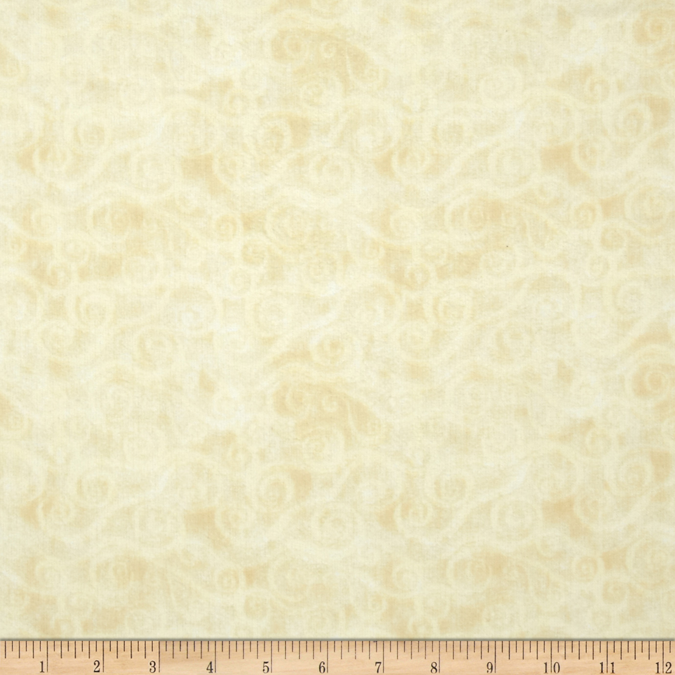 108'' Wide Quilt Back Flannel Swirly Scroll Ivory Fabric by MM Fab in USA