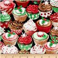 Timeless Treasures Holiday Treats Sparkle Cupcakes Multi