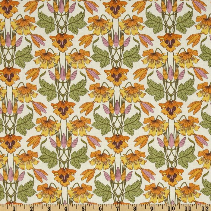 Kaufman London Calling Lawn Deco Bloom Vintage