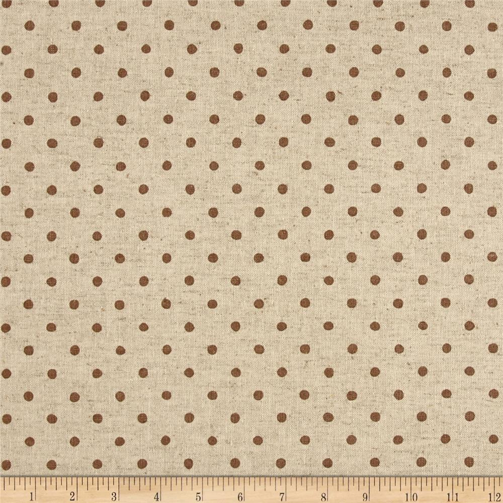 Kaufman sevenberry canvas natural dots small brown for Canvas fabric