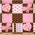 Lady Bugs & Butterflies Fleece Pink/Brown