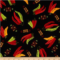 La Cabana Chili Pepper Collage Black Fabric