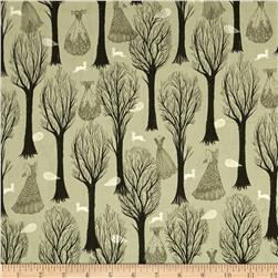 Cotton & Steel Spellbound Metallic Trees Sage