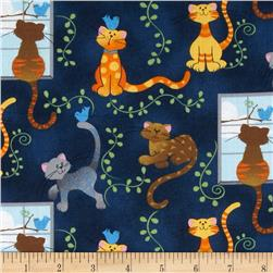Novelty Print Cats Birds & Vines Blue/Yellow/Brown