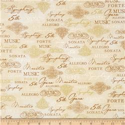 Robert Kaufman All That Jazz Metallic Music Collage Ivory