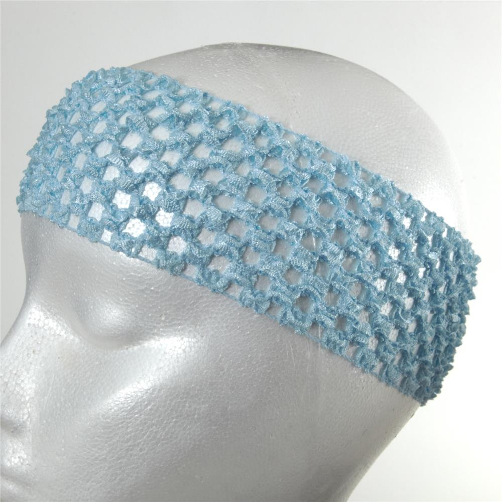 "2 3/4"" Crochet Headband Baby Blue"
