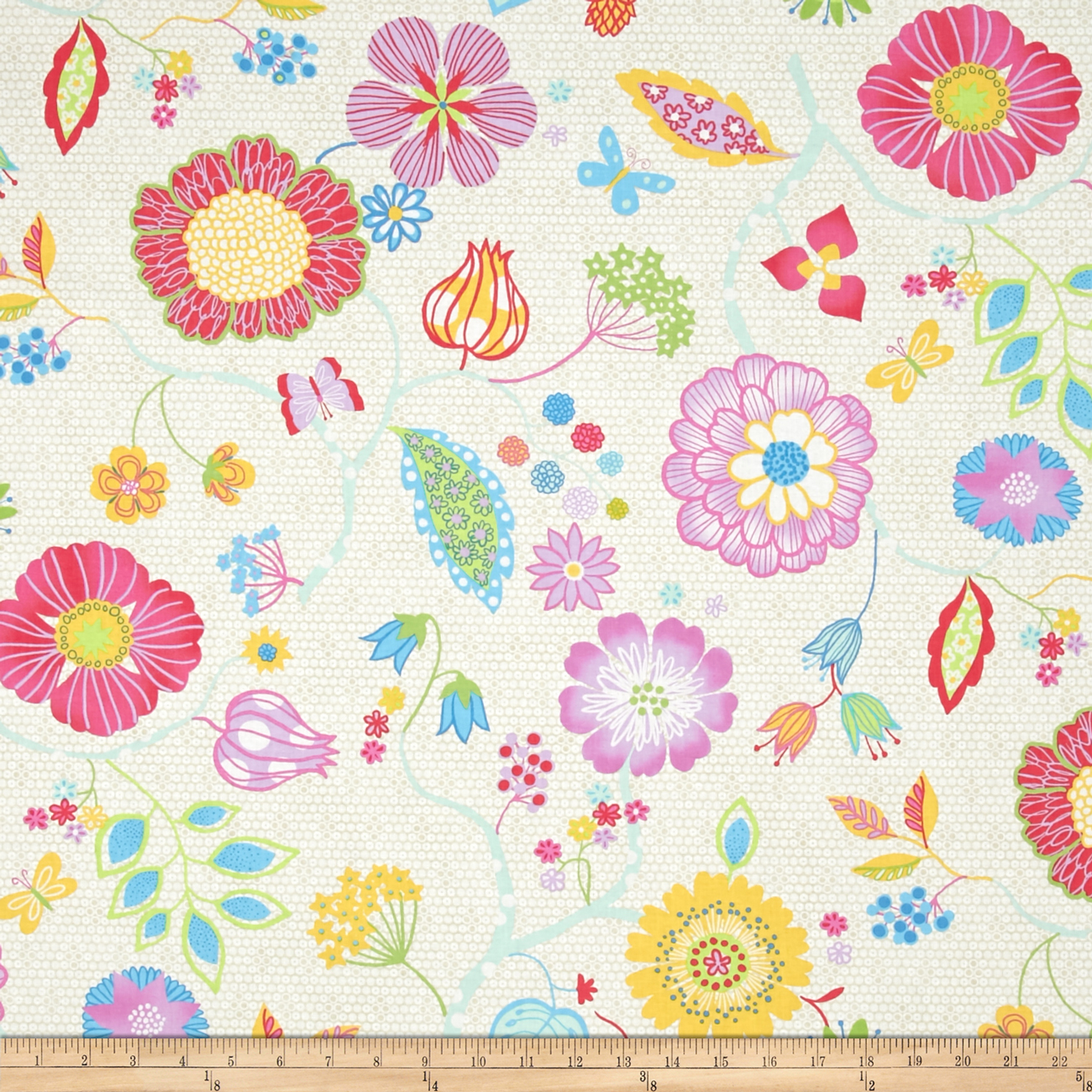 Happy Main Floral Ecru Fabric by Fabri-Quilt in USA
