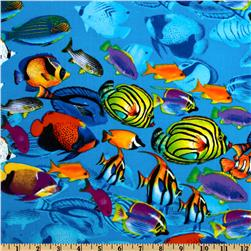 Timeless Treasures Tropical School of Fish Blue