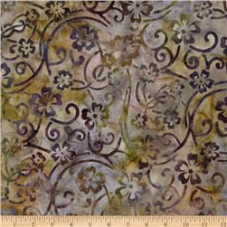Artisan Batik: Enchanted Floral Scroll Garden Fabric