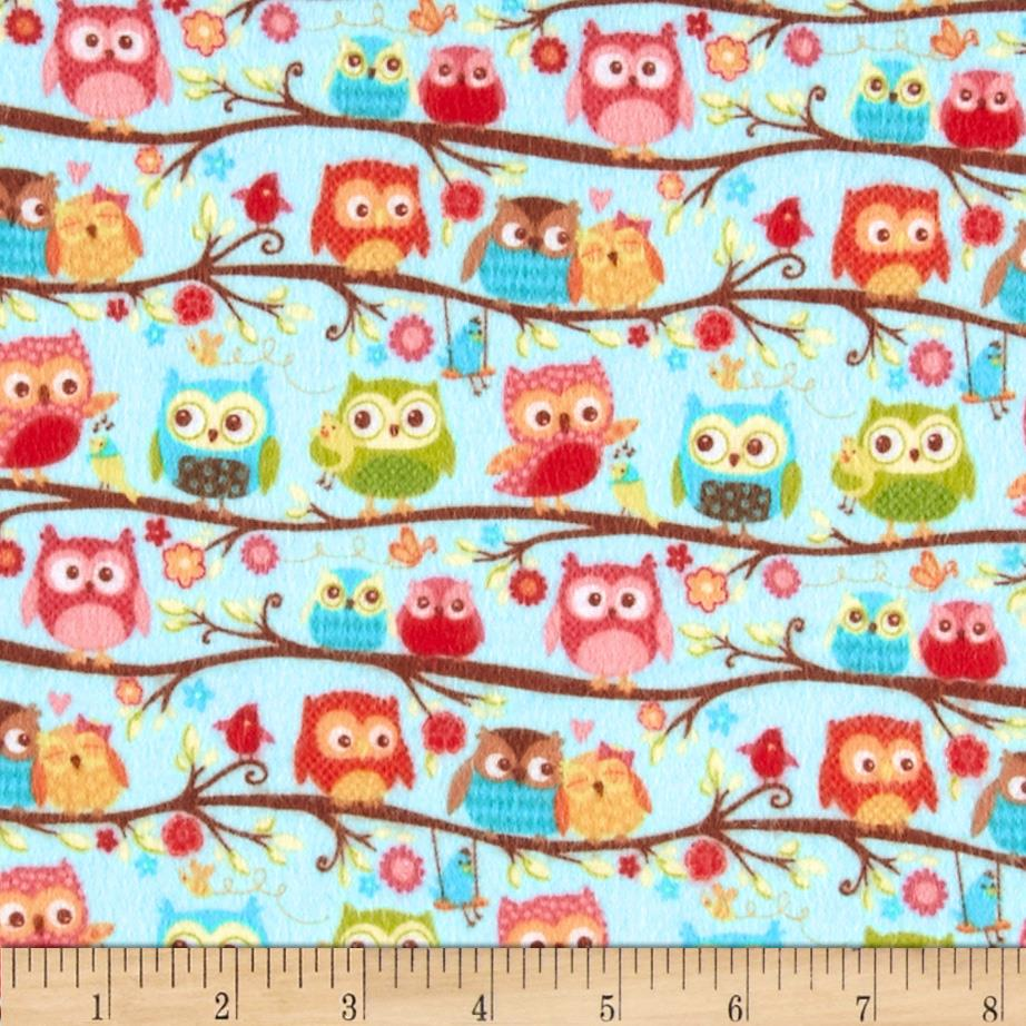 Riley Blake Happy Flappers Flannel Owls Blue