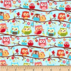 Riley Blake Happy Flappers Flannel Owls Blue Fabric