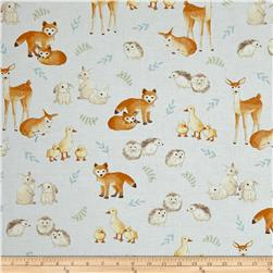 Kaufman Fawns & Friends Animals Blue
