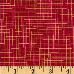 Quilter's Linen Metallic Crimson Fabric