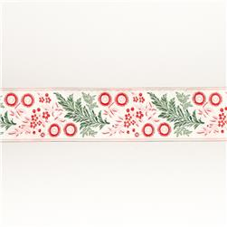 "1 1/2""French General Red & Green Garland on Ecru"