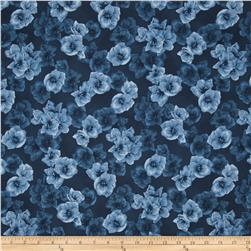 Floral Perspective Tone on Tone  Floral Dusty Blue
