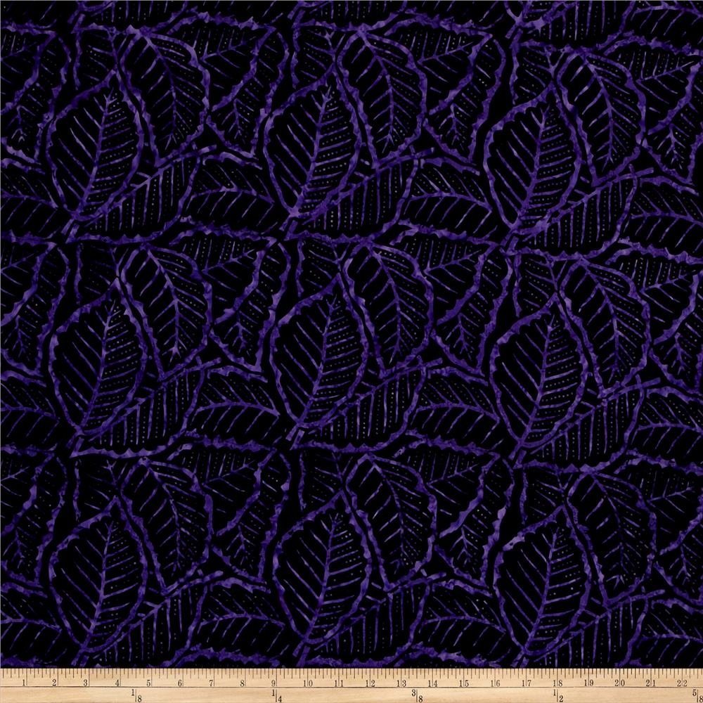 wilmington batiks packed leaves black purple discount designer fabric. Black Bedroom Furniture Sets. Home Design Ideas