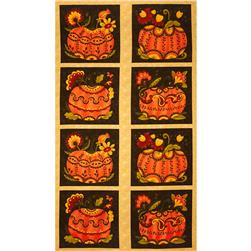 Moda Posh Pumpkins Panel Wheat