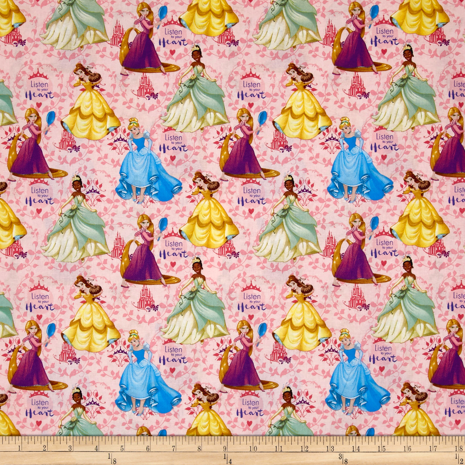 Disney Princess #Princess Strong Listen To Your Heart Pink Fabric 0540081