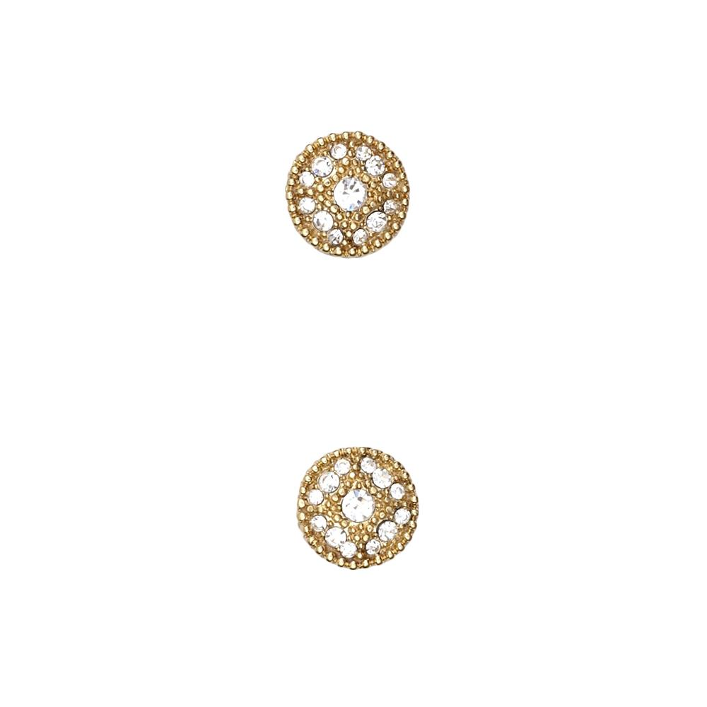 "Fashion Button 1/2"" Petit Elegance Gold/Rhinestone"