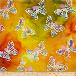 Indian Batik Hand Painted Butterfly Orange/Yellow